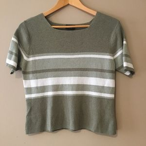 Tops - Olive Green Striped Crop Top